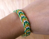 Men's Hemp Bracelet - Green and Yellow Macrame Hemp Bracelet - Earthy, Natural Eco Jewelry - Men's Gifts - Nature-Inspired Jewelry - Under10