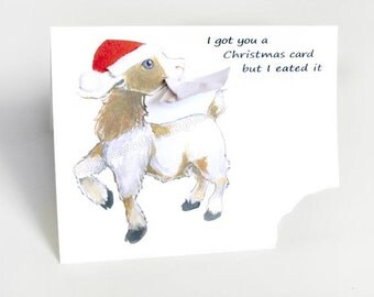 Funny Christmas Card, Goat Greeting Card, Cute Notecard, Personalized Name, Blank Card, Goat Art Print, Custom Message, Merry Christmas