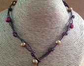 Leather and GARNET & GOLD Freshwater Pearl Necklace - Bracelet - Wraps Around Wrist 3 Times - Metallic Brown - Noles - Any Size - USA Made