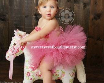 Sweet Fancy Frills 3 Piece Set Includes Tutu, Headband, And Tutu Top In Antique Rose Pink A Sweet Sweet Boutique ORIGINAL DESIGN