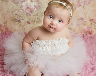 Tutu And Rhinestone Headband Set Sweet Sparkle Baby Couture With Matching Bling Headband Newborn Photo Prop Many Colors Available