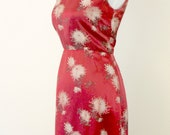Reserved Vintage 1950s Red and Gold Floral Wiggle Dress