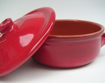 Vintage Small Bowl With Lid. Two Handle.Terracotta. Single Serve Bowl. Albisola. Italy