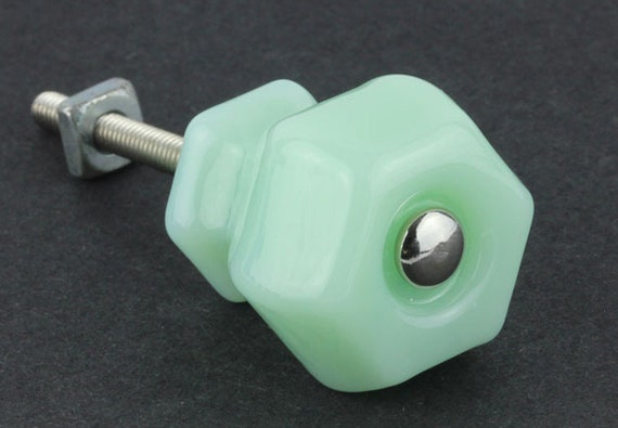 Green Glass Cabinet Knobs And Drawer Pulls: Set Of 1 Jadeite Green Milk Glass Cabinet Knobs By