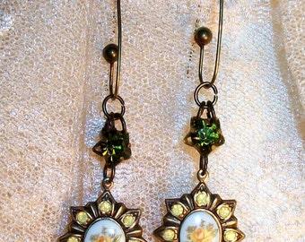 Yellow OPALESCENT GLASS EARRINGS, Beautiful Aged Brass Settings w/Small Yellow Glass Opal Rhinestones, Rose on White Glass