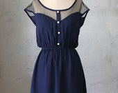 PETIT DEJEUNER NAVY - Deep midnight blue chiffon dress with black lace neckline // retro // party // day // nautical // bridesmaid // pin up