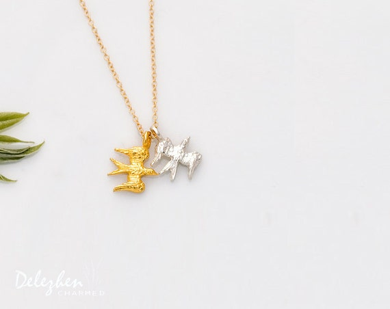 Mixed metal gold and silver flying bird charm necklace - minimalist everyday jewelry - gift for her - bridesmaid necklaceCyber Monday Sale -