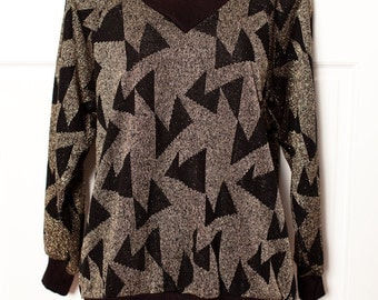 Gorgeous Shimmery Gold and Black Vintage Sweater - Maggie Sweet - Medium