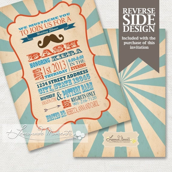 Mustache bridal shower little man invitation by for Man wedding shower invitations