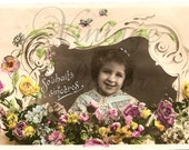 1907 Antique French Photo Postcard Cute Little Girl in Flower Frame with Butterflies RPPC from Vintage Paper Attic