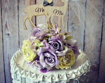 Deer-wedding-cake topper-Mr and Mrs-on sticks-wood-ivory veil-wood burnt-rustic-bride-groom-hunting-woodland-hunter-shabby-country-wedding