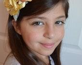 Headband - Yellow Rose Headband - Flower Headband, Photo Prop, Large Headband, Rose Headband, Fabric Flower Headband, Special Occassion