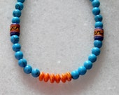Turquoise necklace with apple coral necklace and Peruvian handcrafted beads and free shipping