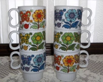 Retro 70's Stackable Mugs, Butterfly Mugs Flower Coffee Mugs Set of 6 Japan Mugsroyale Mugs
