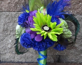 Lime green and king blue bridal bouquet and matching boutonniere, purple flower and rhinestone accent,