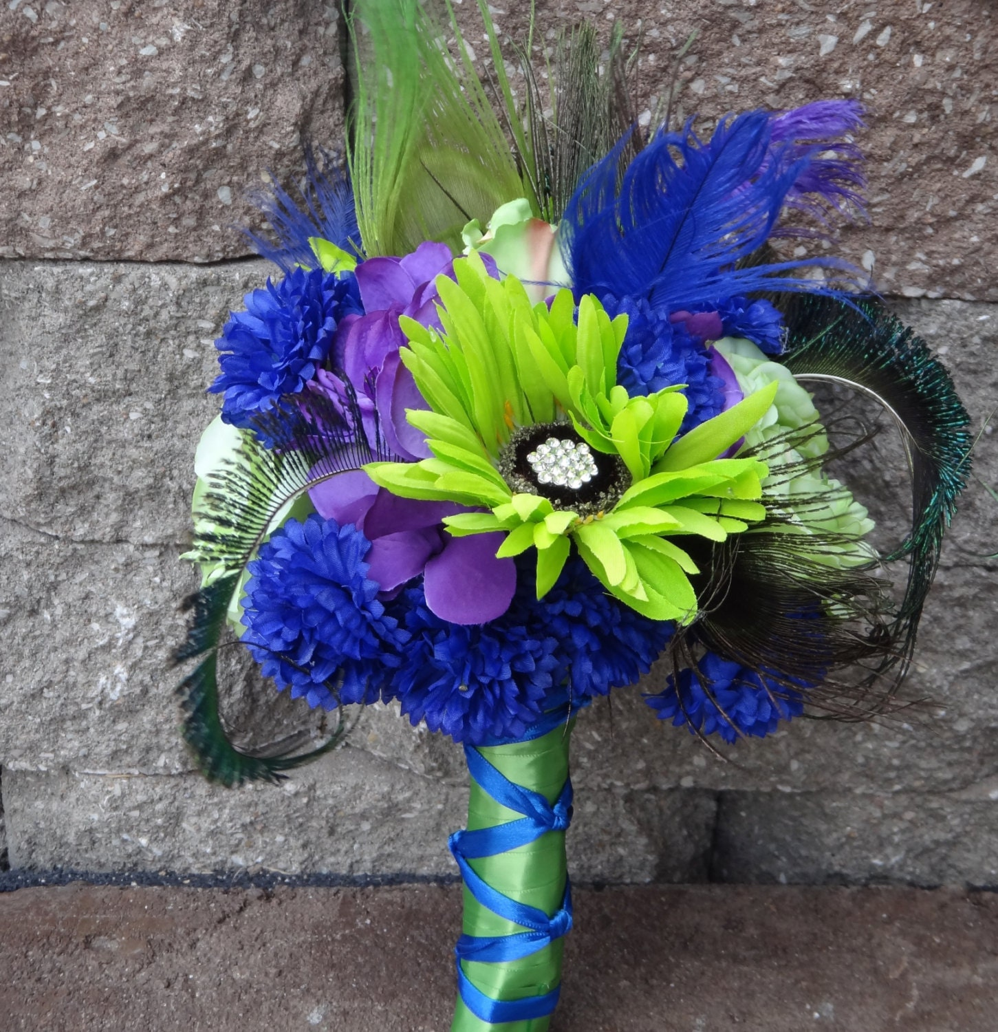 Lime Green And Blue Bouquet 83