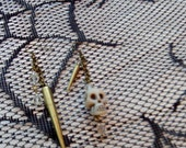 Asymmetric Spike and Skull Chain and Crystal Earrings in Antiqued Brass Finish