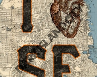 "I Heart San Francisco SF San Fran Anatomical Medical Map Page Background 8x10"" print"
