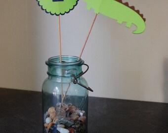 Alligator Centerpieces, Alligator Baby Shower, Alligator Birthday, 8 Pcs