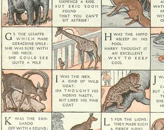 1920s Delightful Nursery ALPHABET Zoo CHART Book Plate ABC