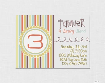 Printable DIY Birthday Invitation - Retro Colors