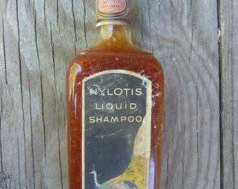 Antique Bottle Antique NYLOTIS Liquid Shampoo With ORIGINAL LABEL