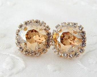 Champagne stud earrings, Champagne crystal Swarovski rhinestones stud earrings, Bridesmaids gift, Bridal earrings, 14k Gold earrings