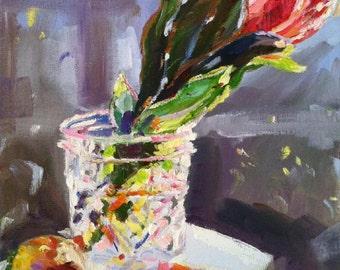 PROTEA Art Print of Original Oil Painting, protea in crystal vase still life