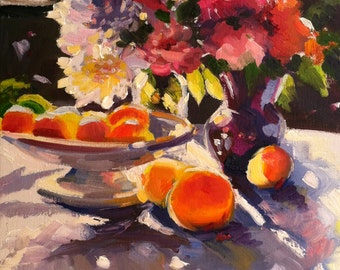 MY KOMBUISTAFEL  Print of Original Oil Painting, roses and oranges
