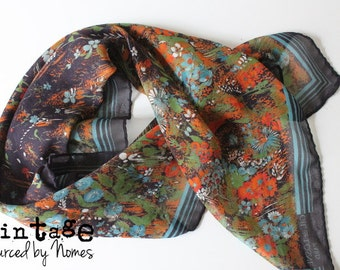 Vintage Gil de Losne Scarf from the 1970s with print of blue orange red flowers