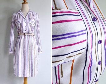 50% Off - Vintage 70's Scribble Stripes Pocket Shirt Dress XS or S