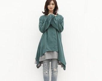 Lagenlook Ethnic Dress Long Sleeve Loose Fitting Shirt Coat Dress in Green Cotton Dress - NC220