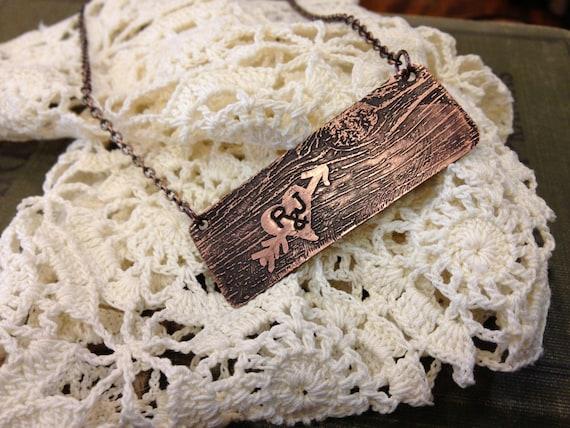Woodgrain Heart Necklace, Custom initial Necklace, Valentine Necklace, Personalized Necklace, Wood Grain Jewelry, copper initial necklace