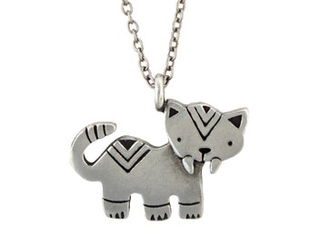 Saber Toothed Tiger Dinosaur Necklace with Geometric Design - Pewter Saber Tooth Cat Pendant