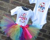 Boy/Girl Twin Polka Dot Party Themed Birthday Outfits, Twin Sprinkles Birthday Outfit, Twin Tutu Set