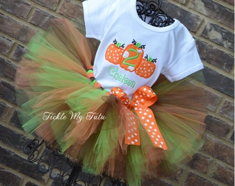Pumpkin Tutu Outfit-Pumpkin Trio Halloween Thanksgiving Fall Birthday Tutu Outfit-Fall Pageant Outfit-Pumpkin Patch Birthday Outfit