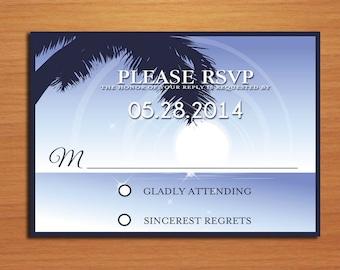 Aloha Beach Destination Wedding RSVP Postcard PRINTABLE / DIY