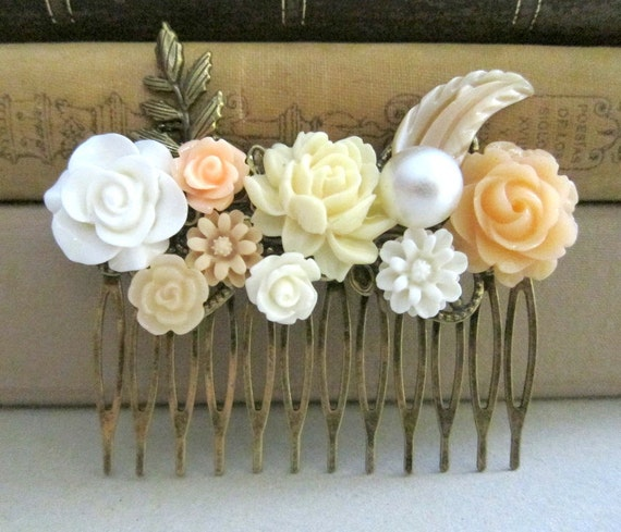 Peach Wedding Hair Comb Ivory Yellow Autumn Wedding Bridesmaid Gift Bridal Head Piece Earthy Brown Fall Colors Trend Flower Floral Leaves