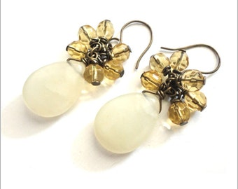 Dangle Beaded Earrings - Light Yellow & Bronze - Smooth Stone Teardrop with Glass Cluster