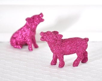 Pink Piglets Baby Nursery Decor Farm House Wedding Table Centerpiece Spring Entertaining Glitter Tablescapes for Girl Birthdays or Showers