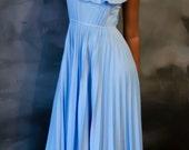 Vintage 70s Romantic Periwinkle Blue Prairie Style Maxi Dress