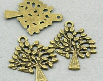 Tree Charms Antique Bronze 6pcs base metal beads 23X29mm CM0590B