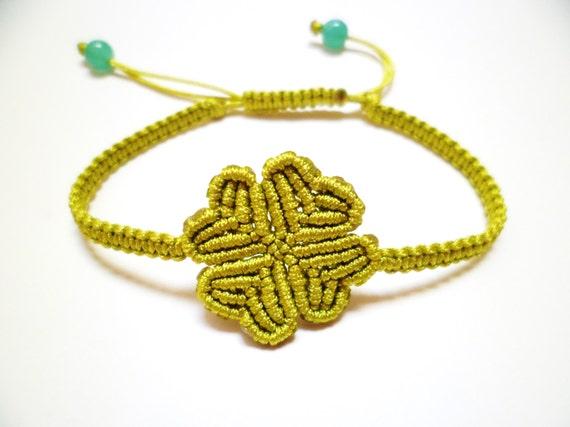 items similar to four leaf clover macrame knot friendship