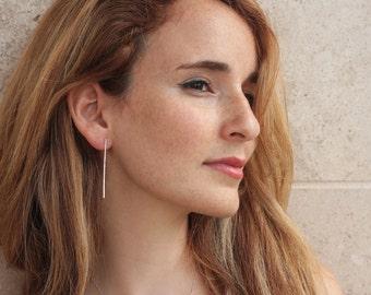 Long Silver Bars Earrings , Slim  Hammered Minimalist Bar Posts , Art Deco Studs , Minimalist Bridal Earrings