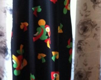 Mod retro Black dress with bright geometric shapes large