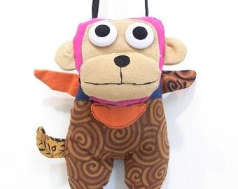 Naughty Monkey Cross-Body Bag Hill Tribe Handwoven Fabric HMONG Thailand (BG611)
