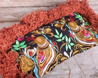 Gold Wristlet HMONG Embroidered Hill Tribe Handmade Thailand Fair Trade  (BG810H-GD5)