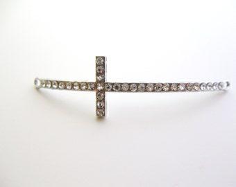 Rhinestone Cross Connector, Silver Rhinestone Crystal Jewelry Supply