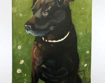 Custom pet portrait hand painted from your photo, dog cat painting, 8x10 canvas