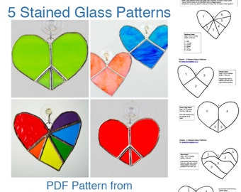 5 Stained Glass Heart PDF Patterns - Heart Suncatchers INSTANT DOWNLOAD